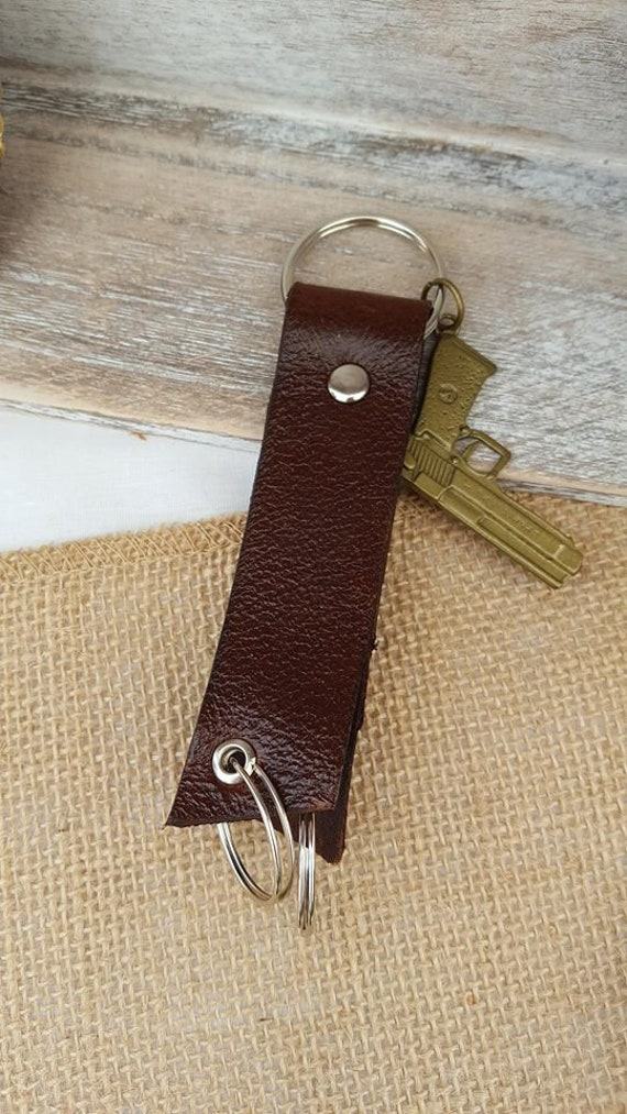 Leather Triple Ring Keychain, Key Fob with Handgun