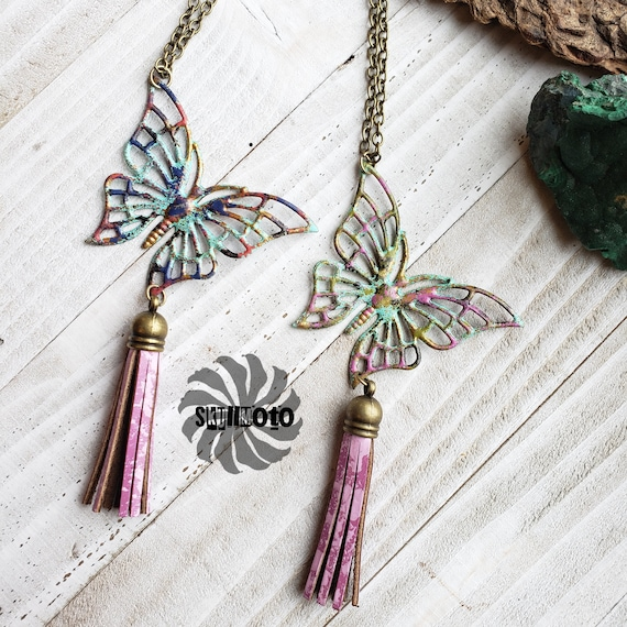 Enhanced Butterfly Necklace with Leather Tassel