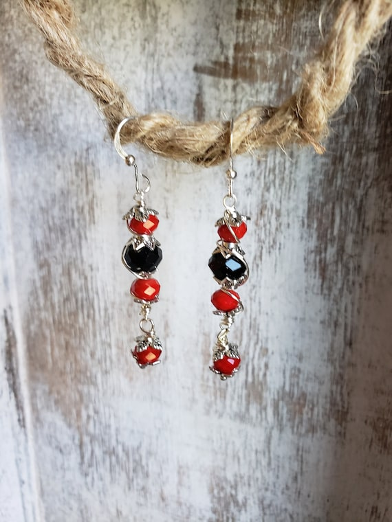 Red & Black Crystal Bead w/Silver Wire Wrapped Earrings