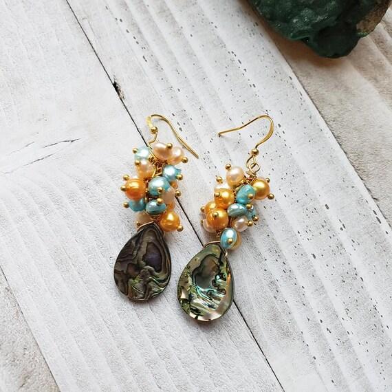 Multi frwshwater Pearl & Paua Shell Earrings