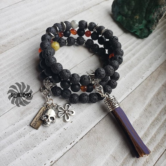Black Agate & Lava Rock Wrap Bracelet with Tassel and Charms