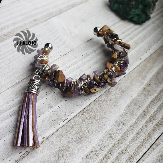 Tigerseye & Amethyst Wire Wrapped Cuff Bracelet with Tassel