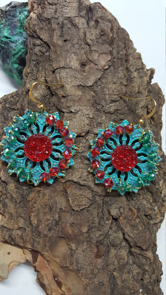 Red Druzy Filigree Earrings with wire wrapped Crystals
