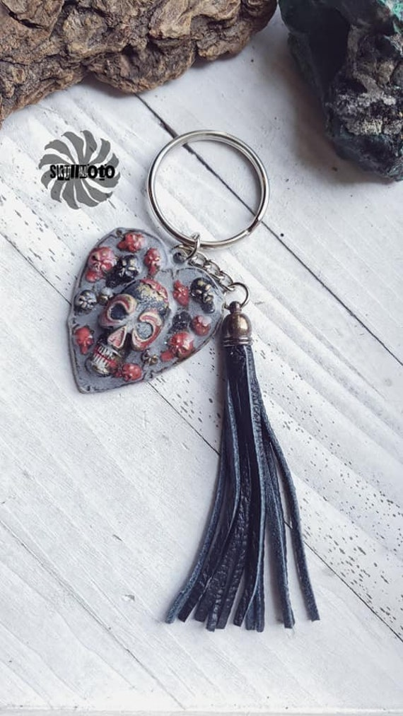 Love Skull Enhanced Skull Keychain with leather Tassel