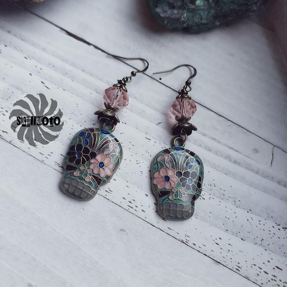 Sugar me some Skulls Enhanced Charm and Resin Earrings with Crystals