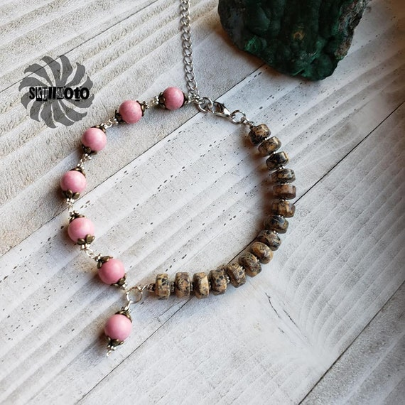 Morganite and Jasper Beaded Bracelet