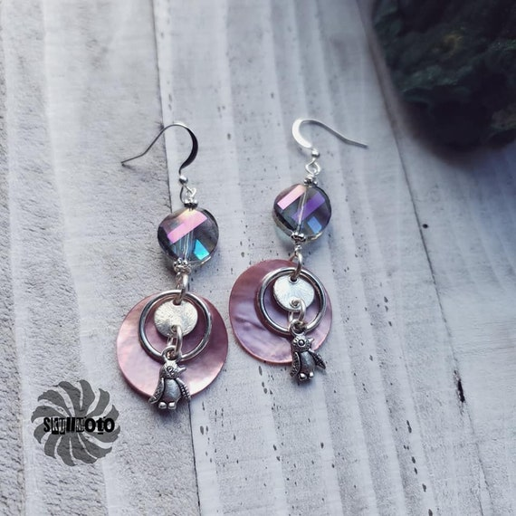 Mother of Pearl Disc, Crystal & Penguin Earrings