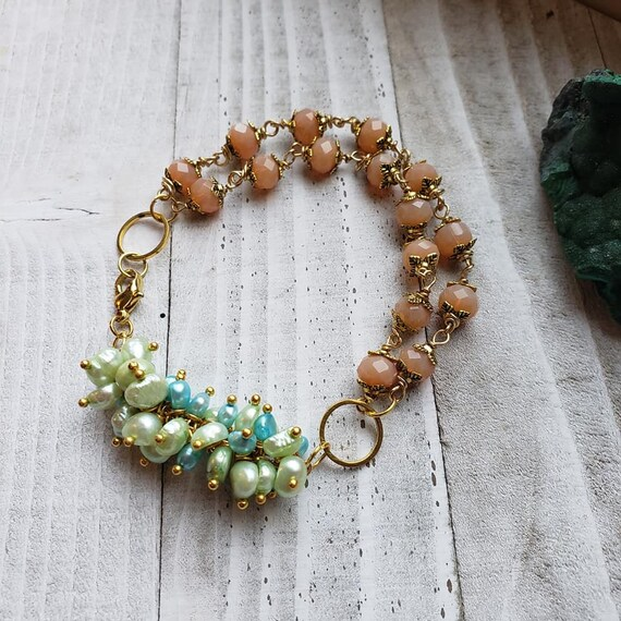 Freshwater Pearl & Crystal Cluster Bracelet