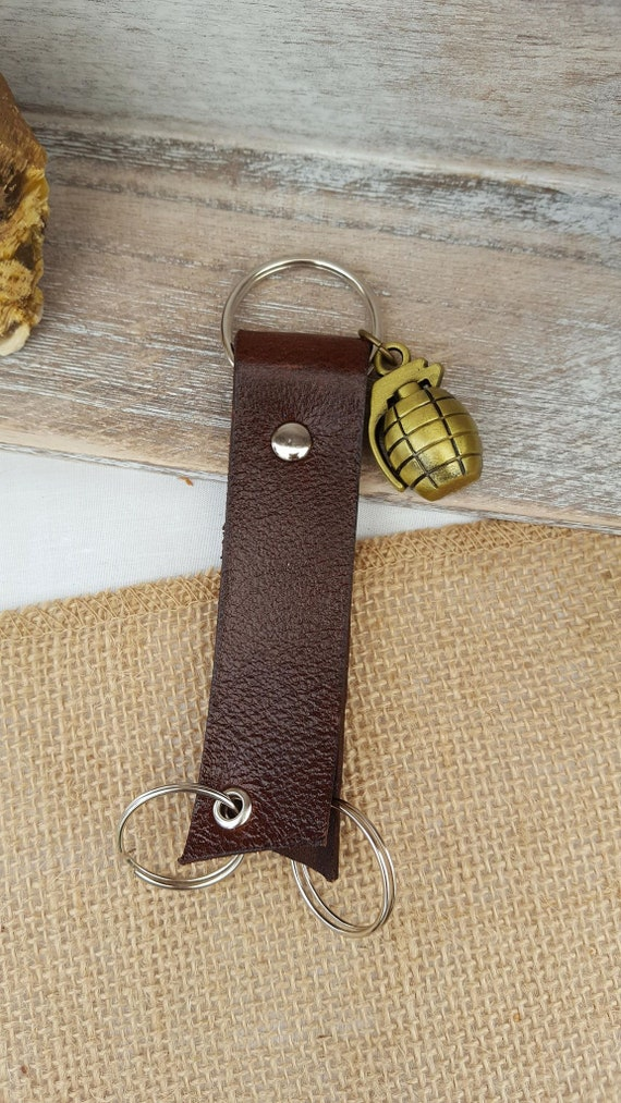Leather Triple Ring Keychain, Key Fob with Grenade