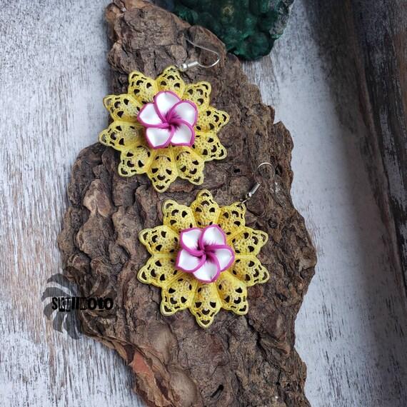 Yellow Filigree & Pink Polymer Flower Earrings