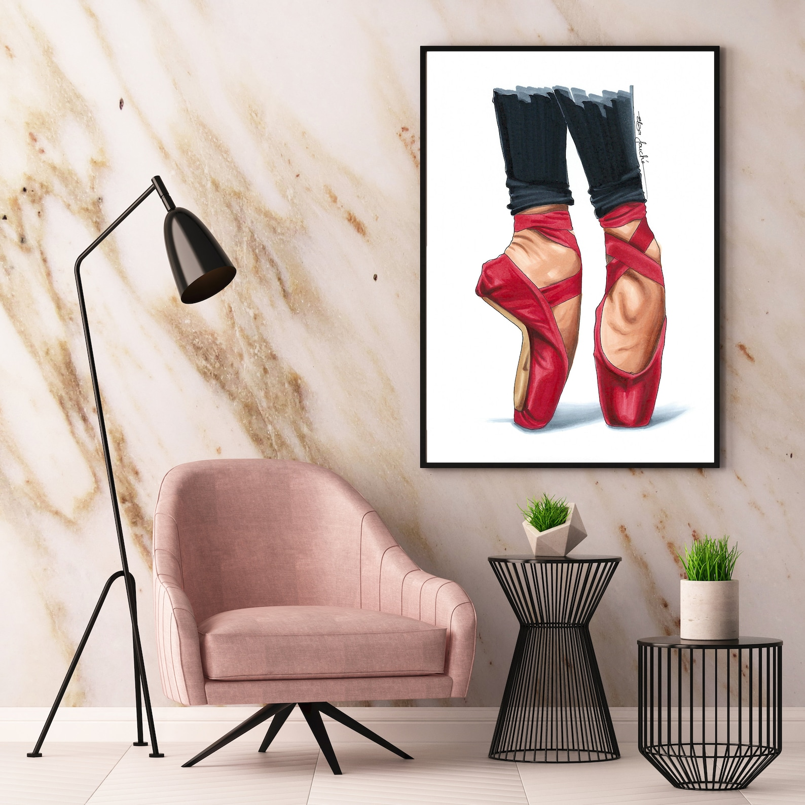 red ballet shoes - gifts for her - fashion art print - fashion illustration - ballet - ballerina - ballet art - ballet print