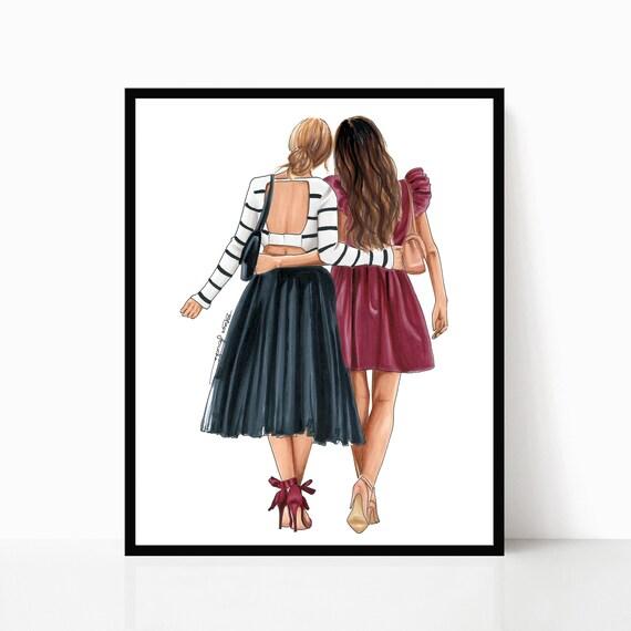 Meilleur Ami Imprimer Bff Illustration Soeur Imprimer Cadeaux Pour Son Amitié Impression Mode Art Print Illustration De Mode Bff
