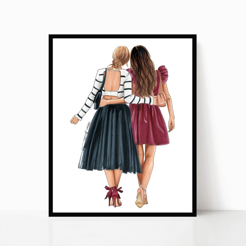 Best Friend Print Bff Illustration Sister Print Gifts For Her Friendship Print Fashion Art Print Fashion Illustration Bff