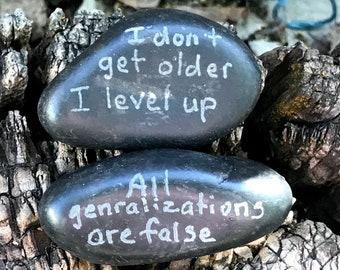 Engraved Rock/ Stone Set, Funny Gag Gift, Novelty, Garden Stone
