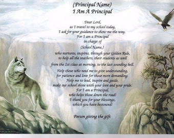 PRINCIPAL Assistant Principal Teacher Poem Personalized Name Art Print School Eagle