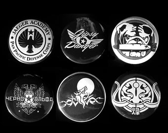 Pacific Rim PPDF Jaeger Set of Pinback Buttons, Magnets, or Stickers