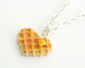 Food Jewelry, Heart Waffle Necklace Charm, waffle necklace, foodie gift, foodie jewelry, miniature food jewelry, stranger things