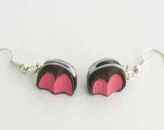 Chocolate Raspberry Truffle Earrings, miniature food jewelry, Valentine's gift, candy earrings, miniature food earrings, chocolate earrings