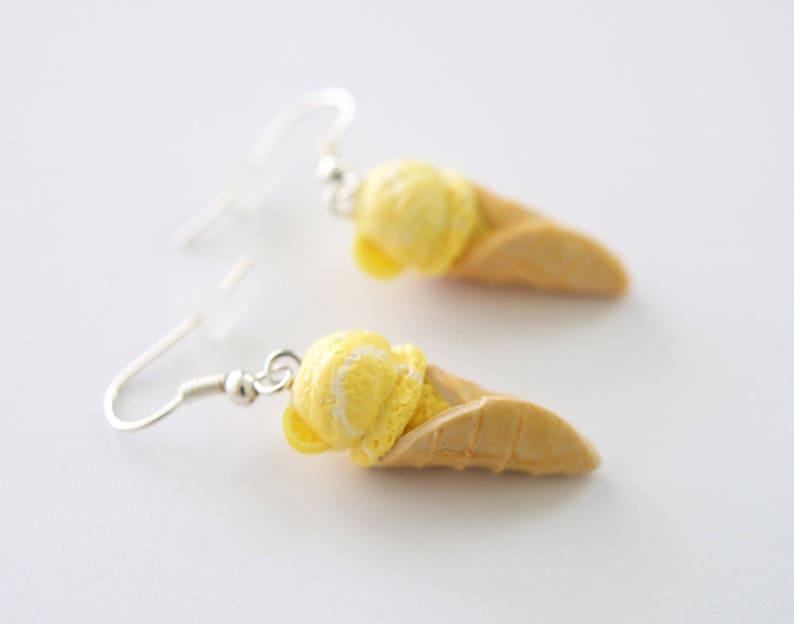 99f3844de Lemon Swirl Ice Cream Cone Earrings Food Jewelry Miniature | Etsy