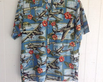 9fe4df23 Vintage KALAHEO Hawaiian Men's Shirt WWII Rockabilly Pearl Harbor Bombers  Pinup P51 Retro Airplanes Resort Wear