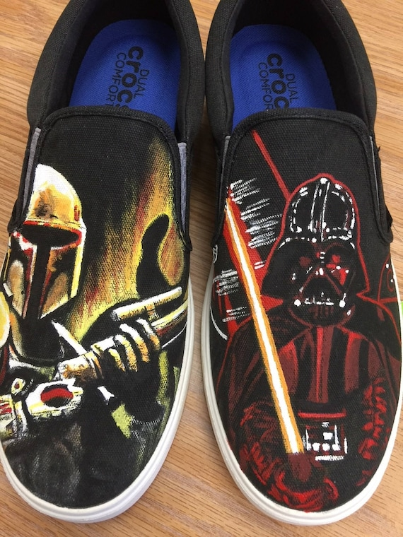 Custom painted Star Wars shoes.   Etsy