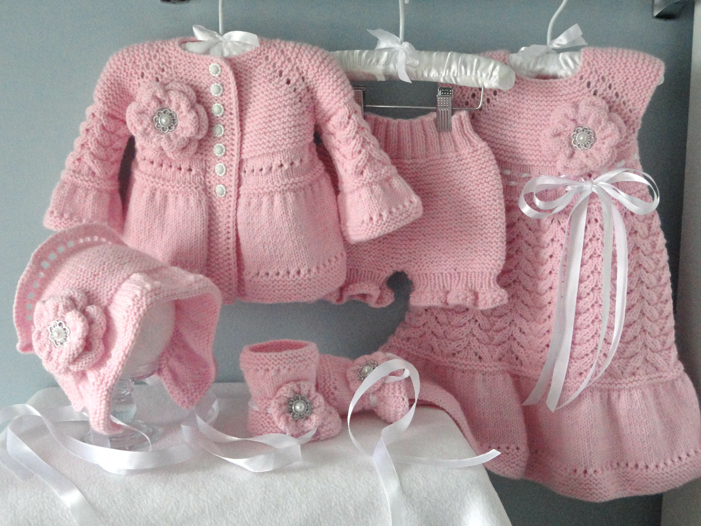 a231d396d661 Christening Baby Dress Knitted Baby Cardigan Crochet Baptism