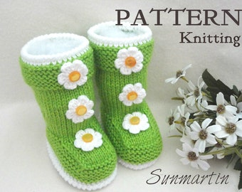 Knitting PATTERN Baby Shoes Baby Booties Knitted Baby Booty Baby Girl Shoes Knitted Baby Girl Booties Knitting Pattern in English PDF