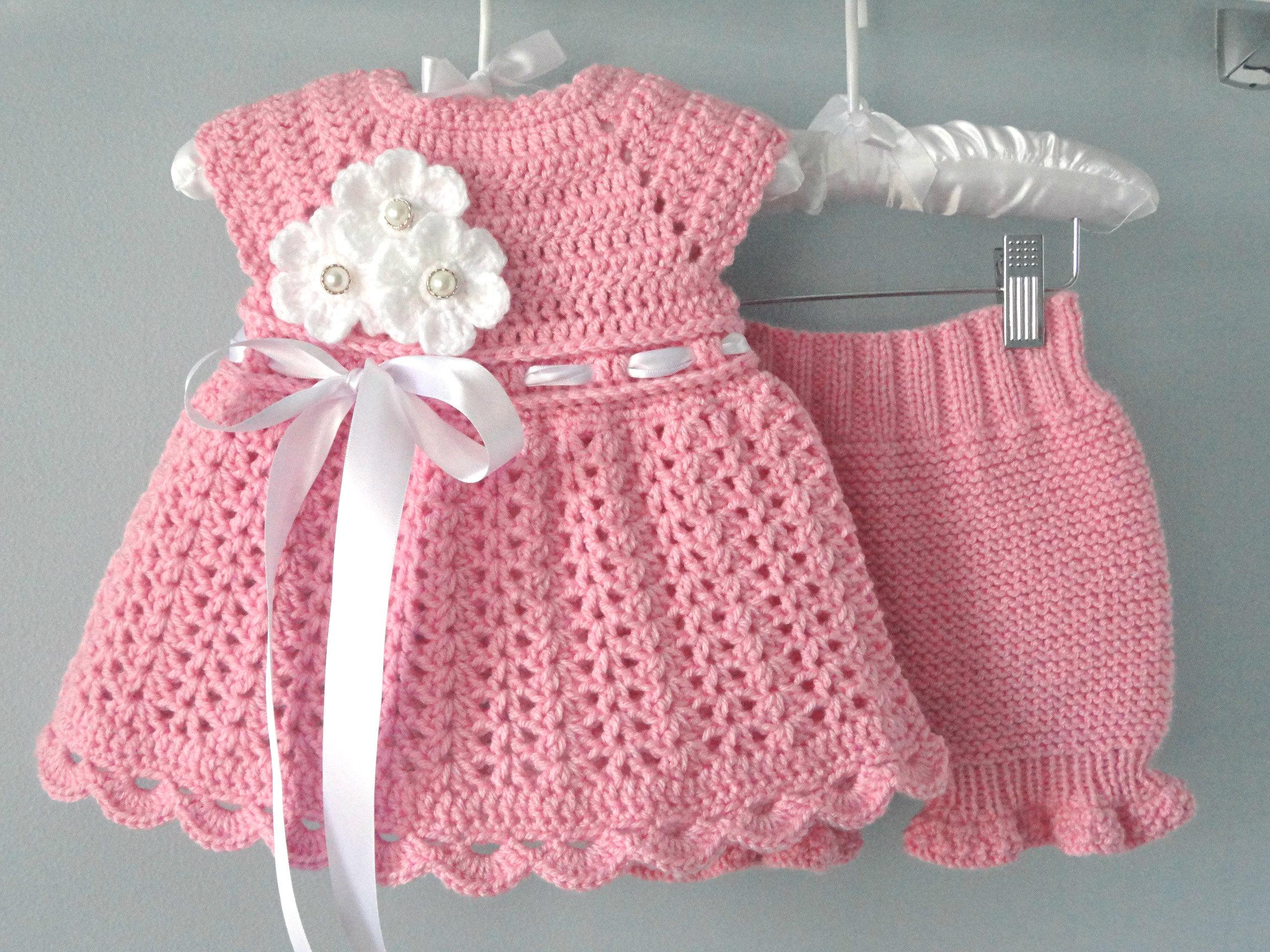Crochet Baby Dress Set Knitted Diaper Cover Crochet Baby Pants Etsy