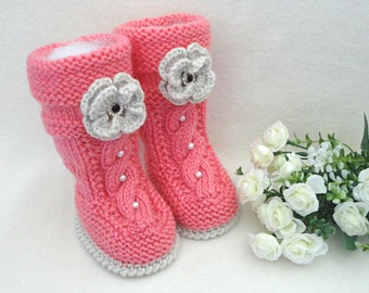 Baby Girl Booties Baby Shoes Crochet Baby Shoes Knitted Baby Booties Infant Girl Shoes Crochet Baby Booties Newborn Gift Baby Girl Clothes