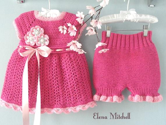 Häkeln Baby Kleid Set gestrickte Windel Abdeckung | Etsy