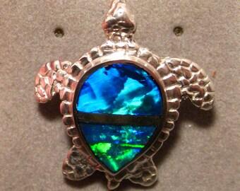 Brilliant !!!!!!! Natural Australian Opal Sea Turtle Pendant - Sterling Silver