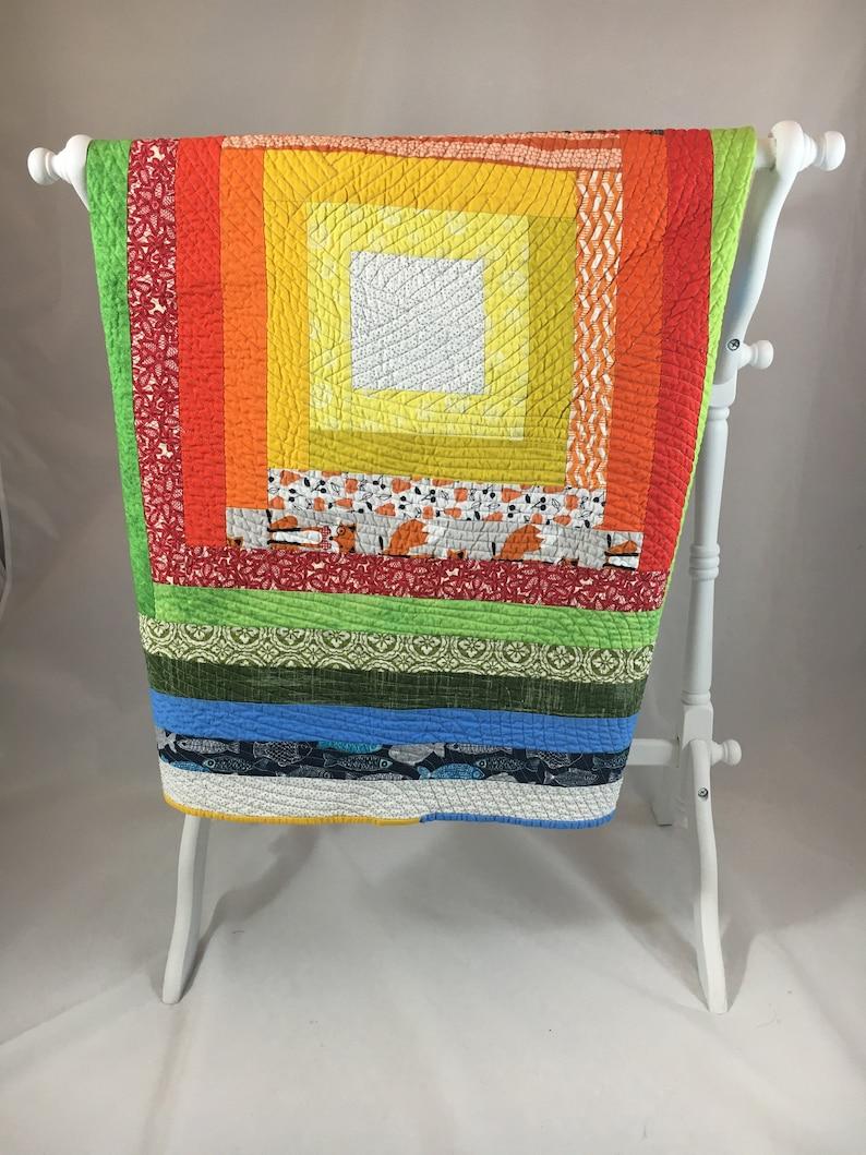 Scrappy Rainbow Baby Quilt