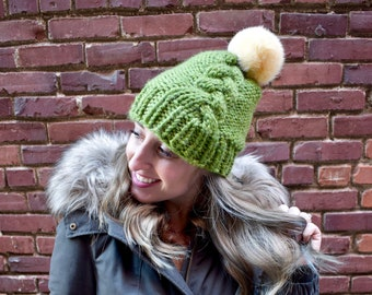 b99a6183a34 Grass Green Cable Braid Chunky Beanie with Giant Rabbit Fur Pom Pom (one of  a kind)