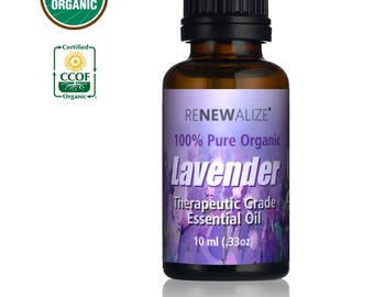 USDA Certified Organic Lavender Essential Oil in 10 ml glass amber dropper bottle - 100% Pure & Natural Undiluted For Soap and Candle Making