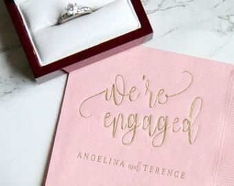 We're Engaged Personalized Napkins, Engagement Party, Custom Bar Napkins, Custom Wedding Napkins