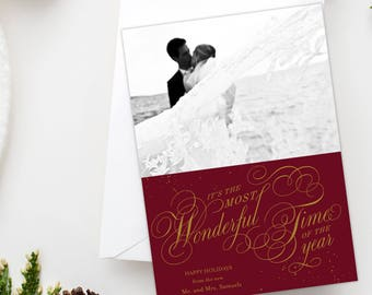 Newlywed Christmas Card - Wonderful Time of the Year, Photo, Holiday Card, Printable, Personalized Holiday Card, Free Shipping