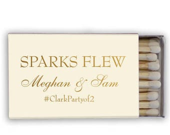 Sparks Flew Personalized Matchbook Favors, Custom Wedding Matches, Personalized Sparkler Matches, Custom Printed Matches