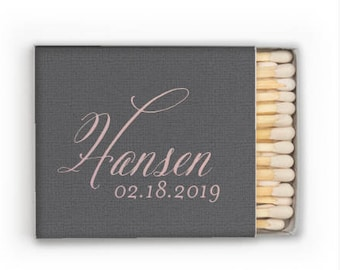 Last Name Personalized Matchbook Favors, Custom Wedding Matches, Personalized Sparkler Matches, Custom Printed Matches