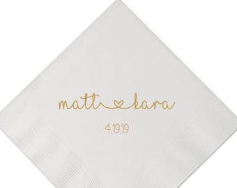 Personalized Wedding Napkins | Bridal Shower | Rehearsal Dinner | Engagement Party Napkins | Custom Bar Napkins | Love, Texas