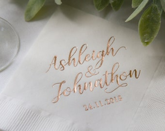 First Name Personalized Wedding Napkins | Bridal Shower | Rehearsal Dinner | Engagement Party | Custom Bar Napkins | Custom Wedding Napkins