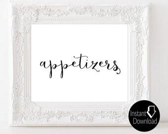 Appetizers Printable Wedding Sign | Wedding Reception Sign | Bridal Shower Sign| Printable Sign | 8x10