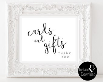 Cards and Gifts Printable Wedding Sign | Wedding Reception Sign | Bridal Shower Sign| Printable Sign | 8x10