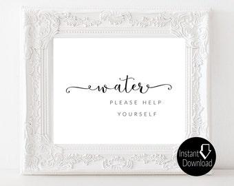 Water Printable Wedding Sign | Wedding Reception Sign | Bridal Shower Sign | Printable Sign | 8x10