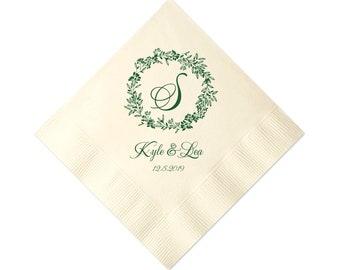 winter monogram wreath personalized wedding napkins monogrammed wedding napkin wedding cocktail napkin bridal shower napkin