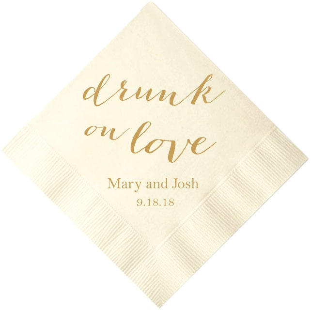 Drunk on Love Personalized Wedding Napkins