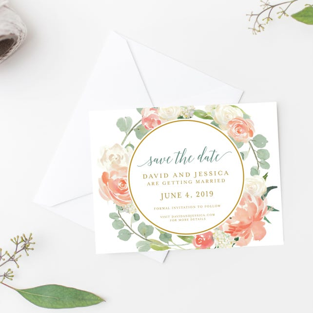 Save the Date Cards | Printed | The Peaches and Cream Wedding Collection