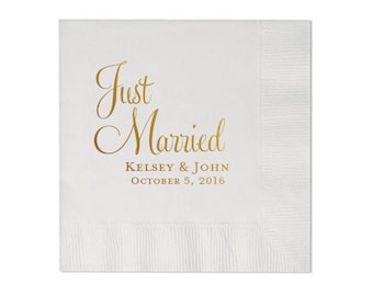 Just Married Personalized Wedding Napkins (Style 2)