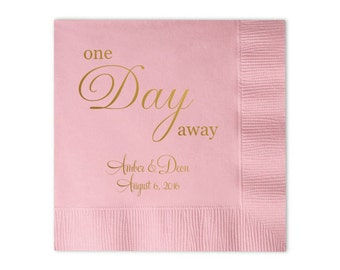 One Day Away Personalized Bridal Shower / Rehearsal Dinner Napkins