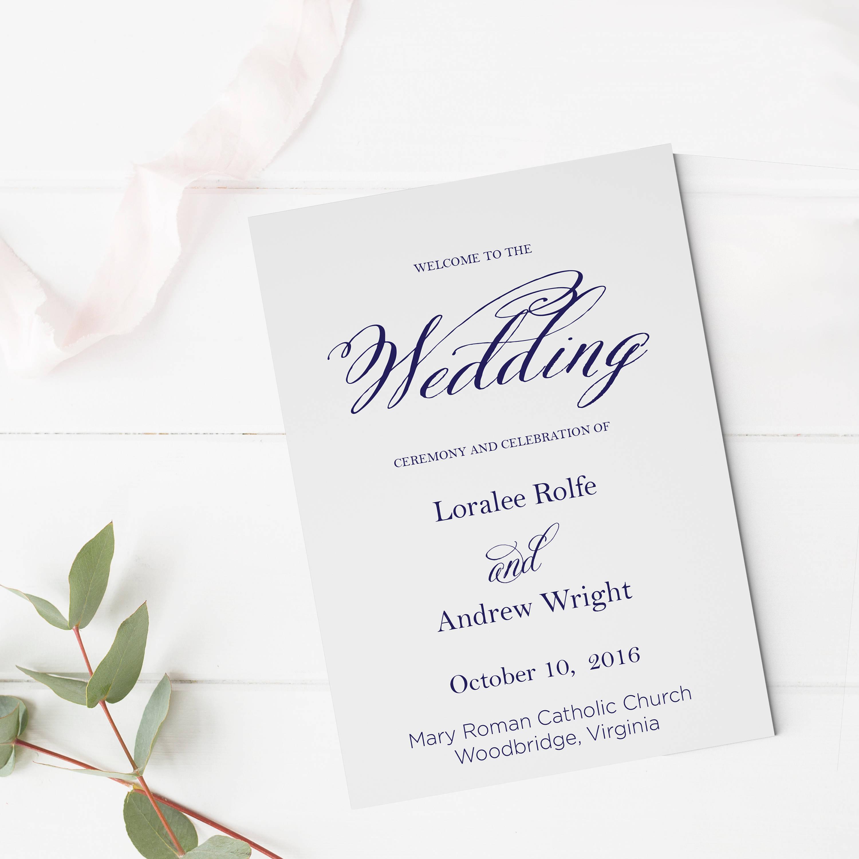 Navy Blue Wedding Ceremony Program Template Wedding