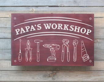 Grandpa's Workshop or Papa's Workshop, Hand Routed with Hammer Design, Personalized Name sign, Wooden Papa Sign, Gift for Him, Male Gift